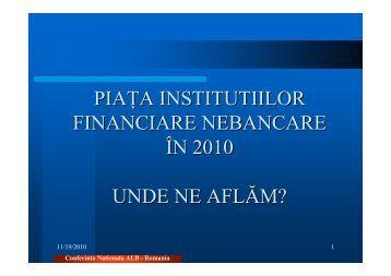 Piaţa IFN-urilor în 2010. Unde ne aflăm? - ALB