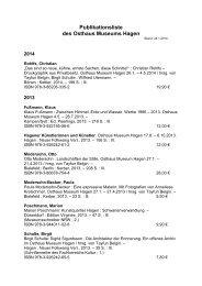 Publikationsliste des Osthaus Museums Hagen - Kunstquartier Hagen