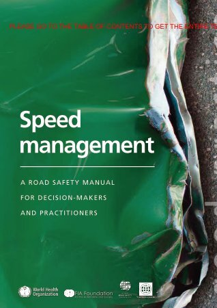 Speed management: a road safety manual for ... - libdoc.who.int