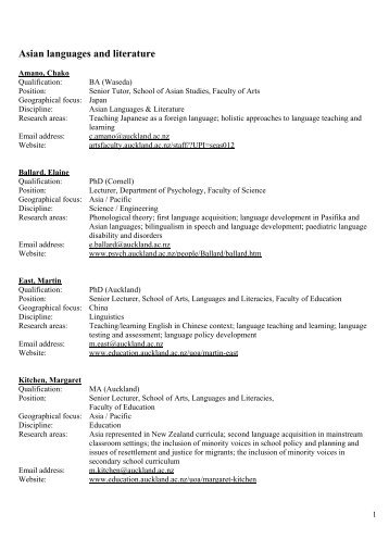 Asian languages and literature - New Zealand Asia Information ...