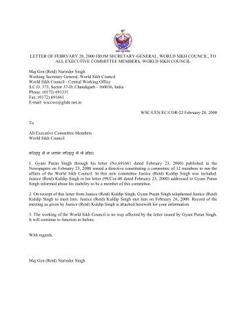 letter of febryary 28, 2000 from secretary-general, world sikh council ...