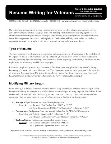Resume Writing for Veterans (pdf) - Career and Internship Services