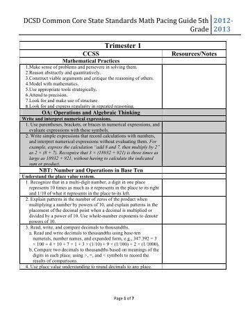 5th grade math pacing guide hillsboro rh yumpu com 5th Grade Language Arts Worksheets 5th Grade Common Core Worksheets