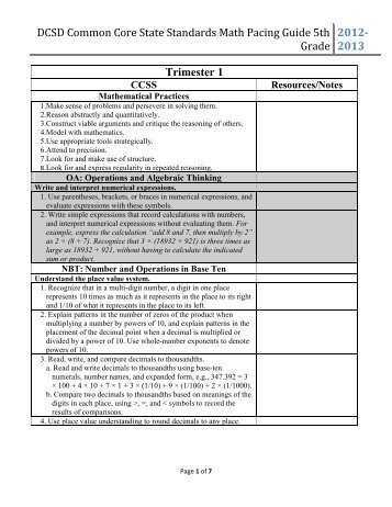 DCSD Common Core State Standards Math Pacing Guide 5th Grade