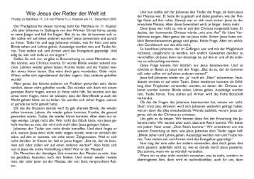 Wie Jesus der  Retter der Welt ist
