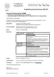 Forum Forschung der FHBB
