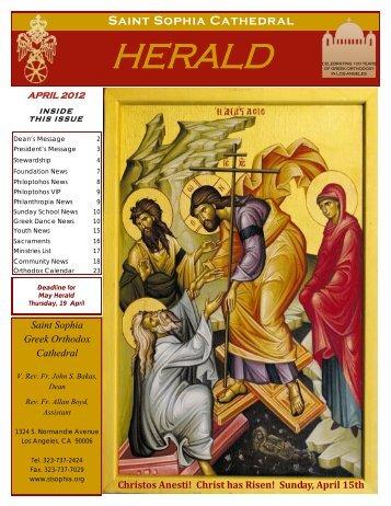 April 2012 - Saint Sophia Greek Orthodox Cathedral