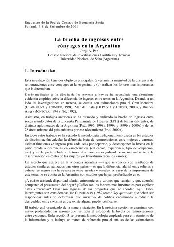 La brecha de ingresos entre cónyuges en la Argentina