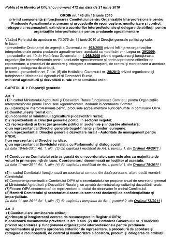 ORDIN nr. 143 din 16 iunie 2010 privind componenţa şi ... - MADR