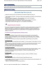 Nouveautés Sage Paie version 20 Sage Déclarations ... - extremIT