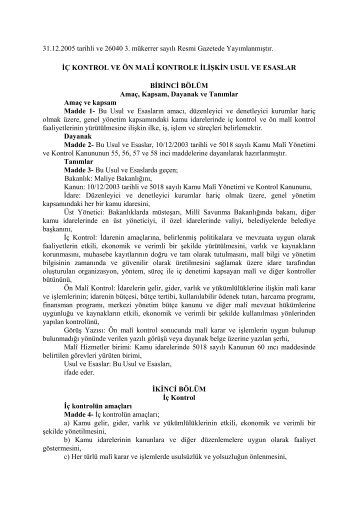 İç Kontrol ve Ön Mali Kontrole İlişkin Usul ve Esaslar - İçişleri ...