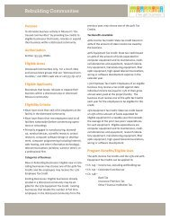 Rebuilding Communities Tax Credit Program - Missouri Partnership