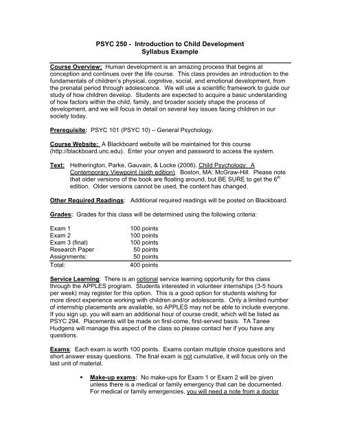 PSYC 250 - Introduction to Child Development Syllabus Example