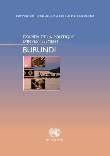 Examen de la politique d'investissement du Burundi - unctad