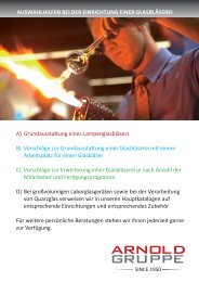 Ratgeber Glasbläsereinrichtung - Arnold Gruppe