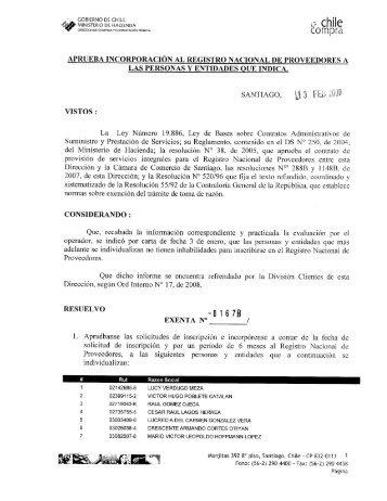 Resolución Proveedores Inscritos Diciembre 2007 - Chileproveedores