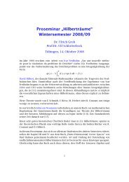 "Proseminar ""Hilberträume"" Wintersemester 2008/09"