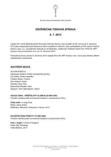 Závěrečná tisková zpráva (pdf) - Mezinárodní Filmový Festival ...