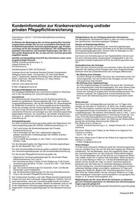 Kundeninformation Zur Krankenversicherung Und Signal Iduna