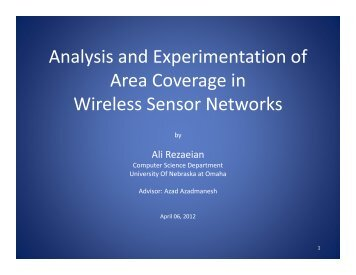 Analysis and Experimentation of Area Coverage in Wireless Sensor ...