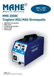 MMS 2000C Tragbare MIG/MAG Stromquelle - Mahe