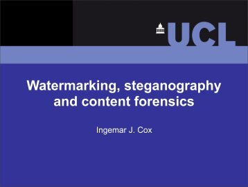 Watermarking, steganography and content forensics