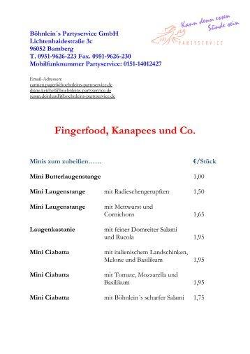 Fingerfood, Kanapees und Co. - Branchenbuch - infranken.de
