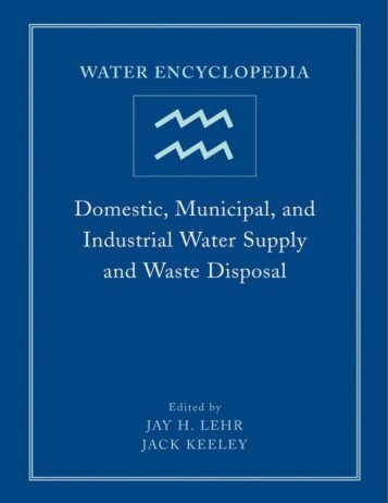 Water Encyclopedia: Domestic, Municipal, and Industrial Water ...