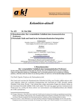Kolumbien -aktuell No. 429 / 18. Maii 2006 - ask! Arbeitsgruppe ...
