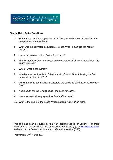 South Africa Quiz Q New Zealand School Of Export
