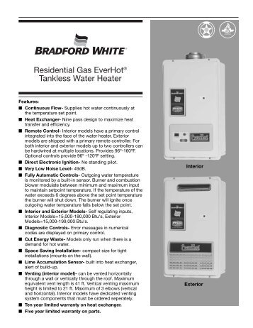 bradford white water heater instruction manual