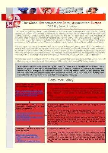 EU Policy List - Global Entertainment Retail Association