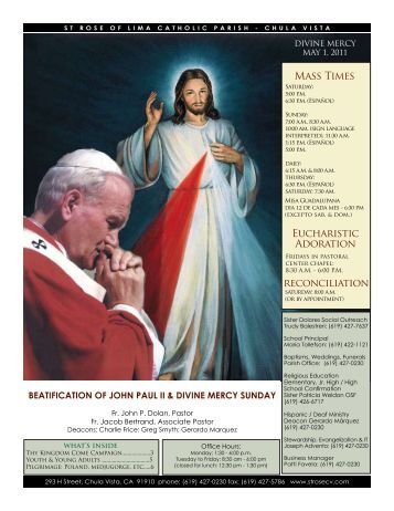 Mass Times Eucharistic Adoration reconciliation - St. Rose of Lima