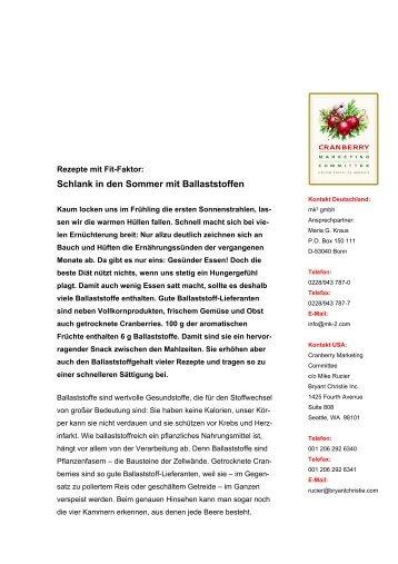 Schlank in den Sommer mit Ballaststoffen - Cranberries