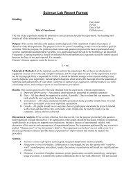 Formal Lab Report Format - Southington Public Schools