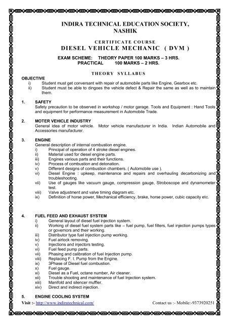 diesel vehicle mechanic ( dvm ) - Indira Technical Education