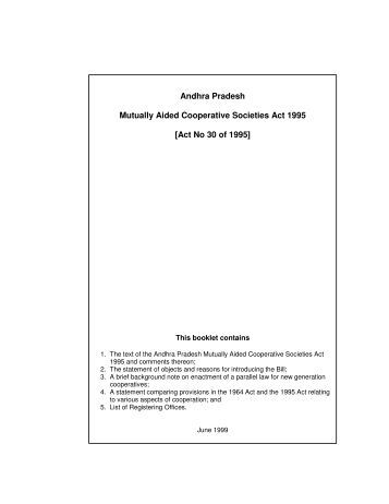 Andhra Pradesh Mutually Aided Cooperative Societies Act 1995 [Act ...