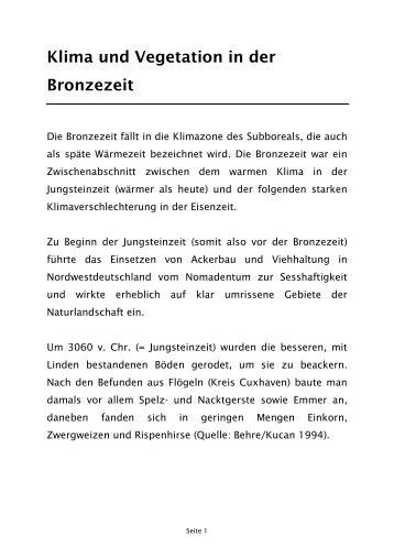 Informationen über Klima in der Bronzezeit