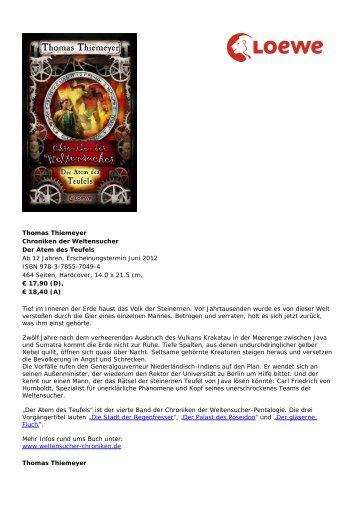 Thiemeyer magazine for Chroniken der weltensucher