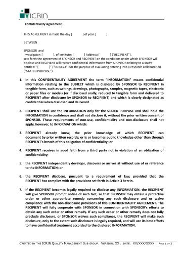 Medical Confidentiality Agreement Non Disclosure Agreement Sample