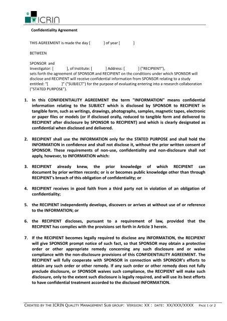 Confidentiality Agreement Template Molecular Medicine Ireland