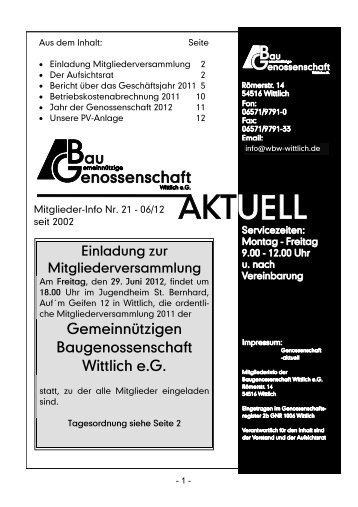 Mitglieder-Info 1/2012 - Gemeinnützige Baugenossenschaft Wittlich ...