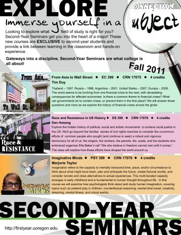 Immerse yourself in a - First-Year Programs - University of Oregon