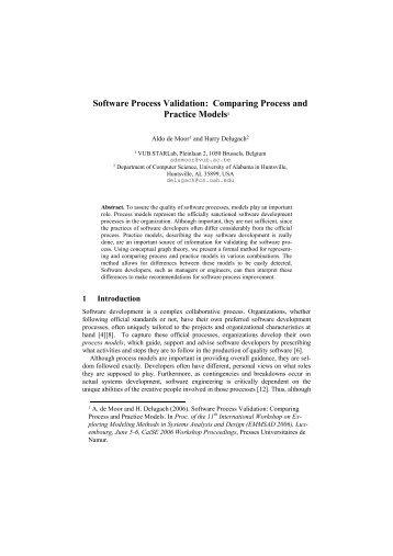 Software Process Validation: Comparing ... - CommunitySense