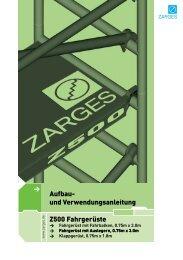 Aufbau- und Verwendungsanleitung Z500 Fahrgerüste