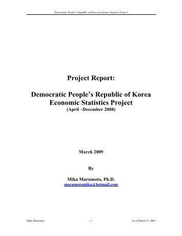 DPRK Statistics Project: Full Report - US-Korea Institute at SAIS