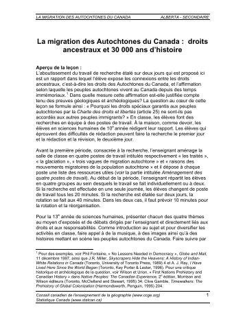 La migration des Autochtones du Canada : droits ancestraux et 30 ...