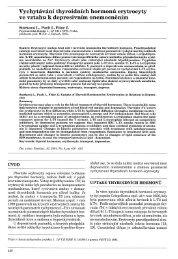 Vychytávání thyroidních hormonů erytrocyty ve vztahu k depresivním ...
