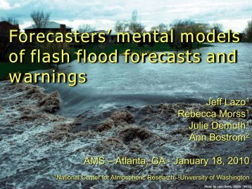Forecasters' mental models of flash flood forecasts and warnings.