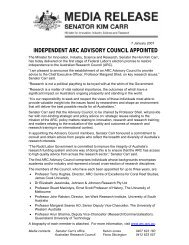 Media release from Senator Kim Carr - Council for the Humanities ...